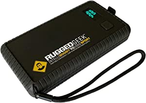 RUGGED GEEK RG1000 Sport 1000A Portable 12V Jump Starter/Booster Pack and Power Supply with LED Display, INTELLIBOOST, LED Flashlight, USB Type-C, IP66 Rated.