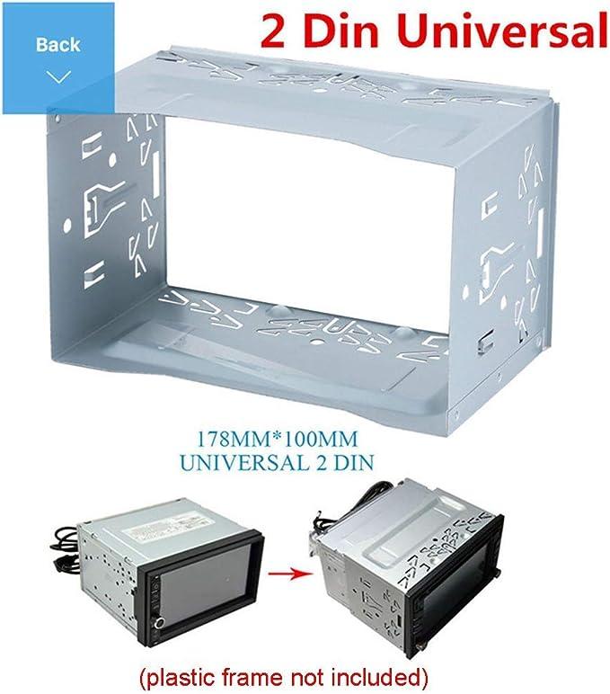 Coche Audio Estéreo Universal Iron Instalación Kit Seguridad Jaula con Marco Doble 2 Din Radio Montaje en Panel Marco Kit de Montaje para Coche Reproductor de DVD - Plateado: Amazon.es: Bricolaje y
