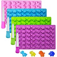 KRLIFCSL Mini Gummy Dinosaur Silicone Candy Molds, Non-Stick Chocolate Molds for Making Fruit Gummies, Chocolates, Vitamin Candy, Party Novelty Gift, Pack of 4 with 4 Droppers
