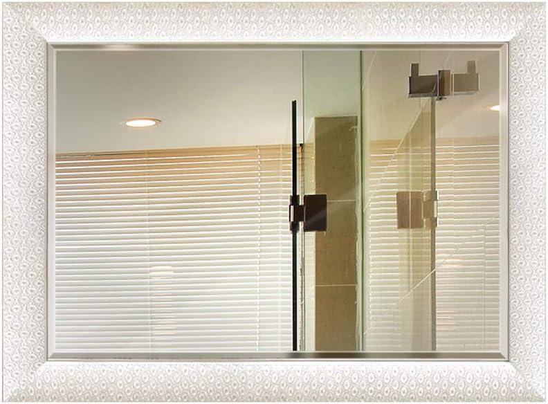 Espejo de la Pared del baño, Espejos de vanidad montados en la Pared rectangulares de Alta definición biselados Simples Grandes de Madera de Alta definición de 450 * 600 mm (Color :