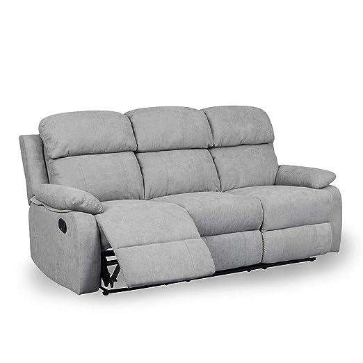 DecoInParis - Sofá Relax 3 plazas de Tela Keaton: Amazon.es ...