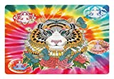 Ambesonne Animal Pet Mat for Food and Water, Tiger Head with Ornaments Butterflies and Roses Human Figures Lotus Position Globes, Rectangle Non-Slip Rubber Mat for Dogs and Cats, Multicolor
