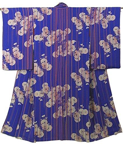 持っている橋チョップアンティーク 着物 青 饅頭菊 裄62cm 身丈138cm