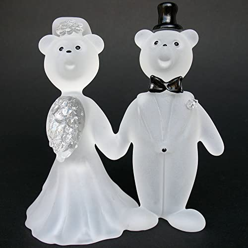 Teddy Bear Bride And Groom Wedding Cake Topper Figurine Of Hand Blown Glass