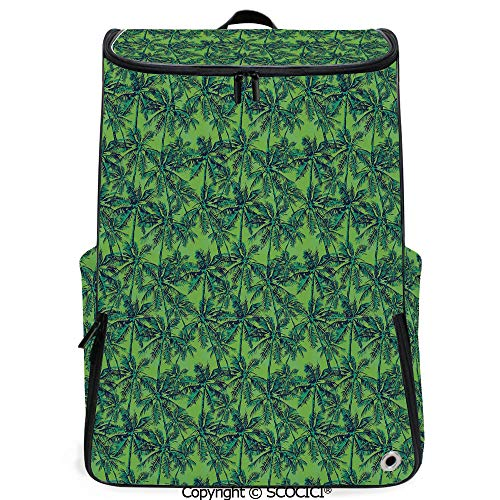SCOCICI Large Casual Backpack,Tropical Island Forest Theme with Palm Trees Exotic Hawaii Nature Jungle Decorative,Jade Green Lime Green,Backpack with Shoes Compartment