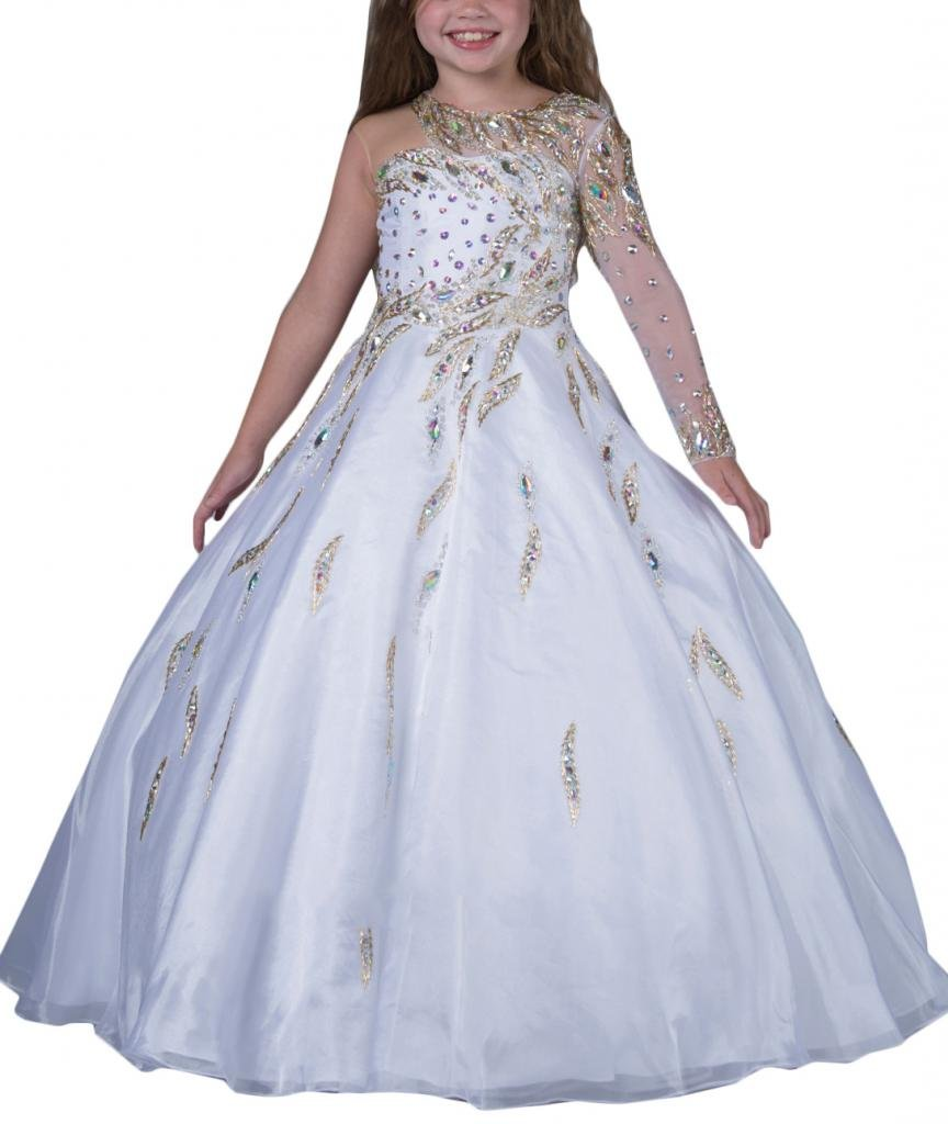 Hanayome Girls Pageant Flower Girl Wedding Gowns R131 white 12
