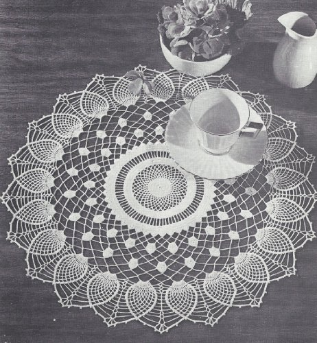 Vintage Crochet PATTERN to make - Doily Centerpiece Mat Sheer Pineapple Design. NOT a finished item. This is a pattern and/or instructions to make the item only.