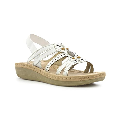 915b5350d Earth Spirit Womens White Leather Casual Sandal  Amazon.co.uk  Shoes ...