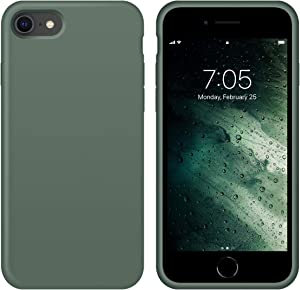 """OUXUL iPhone SE 2020 Case,iPhone 7/8 Phone case,iPhone 7 case Liquid Silicone Gel Rubber Phone Case,iPhone SE 2020/8/7 4.7"""" Full Body Slim Soft Microfiber Lining Protective Case (Forest Green)"""