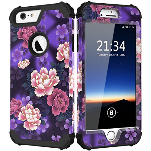 iPhone 6s Plus Case, Hocase Drop Protection Shock Absorbing Silicone Bumper+Hard Shell Hybrid Dual Layer Full-Body Protective Case for iPhone 6 Plus/iPhone 6s Plus 5.5 - Voilet Flowers/Black