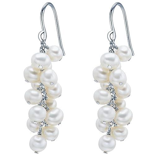 Valero Pearls Fashion Collection Damen-Ohrhänger Hochwertige Süßwasser-Zuchtperlen in ca.  5 mm Oval 925 Sterling Silber