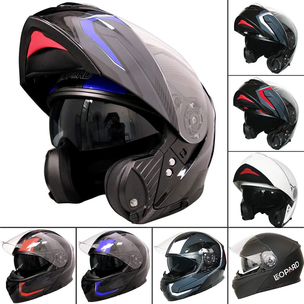 Red//Grey//Black S 55-56cm Leopard LEO-888 Double Visor Flip up Front Motorcycle Motorbike Helmet Road Legal