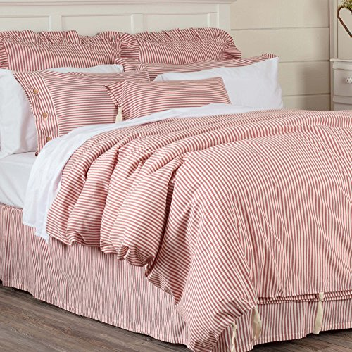 (Piper Classics Farmhouse Ticking Stripe Duvet Cover Bedding, Red & Off-White, Queen 92x91, Comforter Cover w/Twill Ties, Soft, Comfortable, Farmhouse Bedroom Décor)