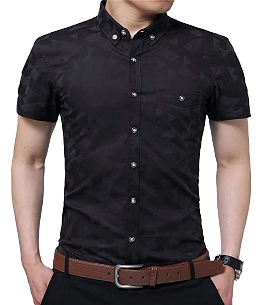 413e9a144c66 YTD Mens 100% Cotton Casual Slim Fit Short Sleeve Button Down Printed Plaid Dress  Shirts