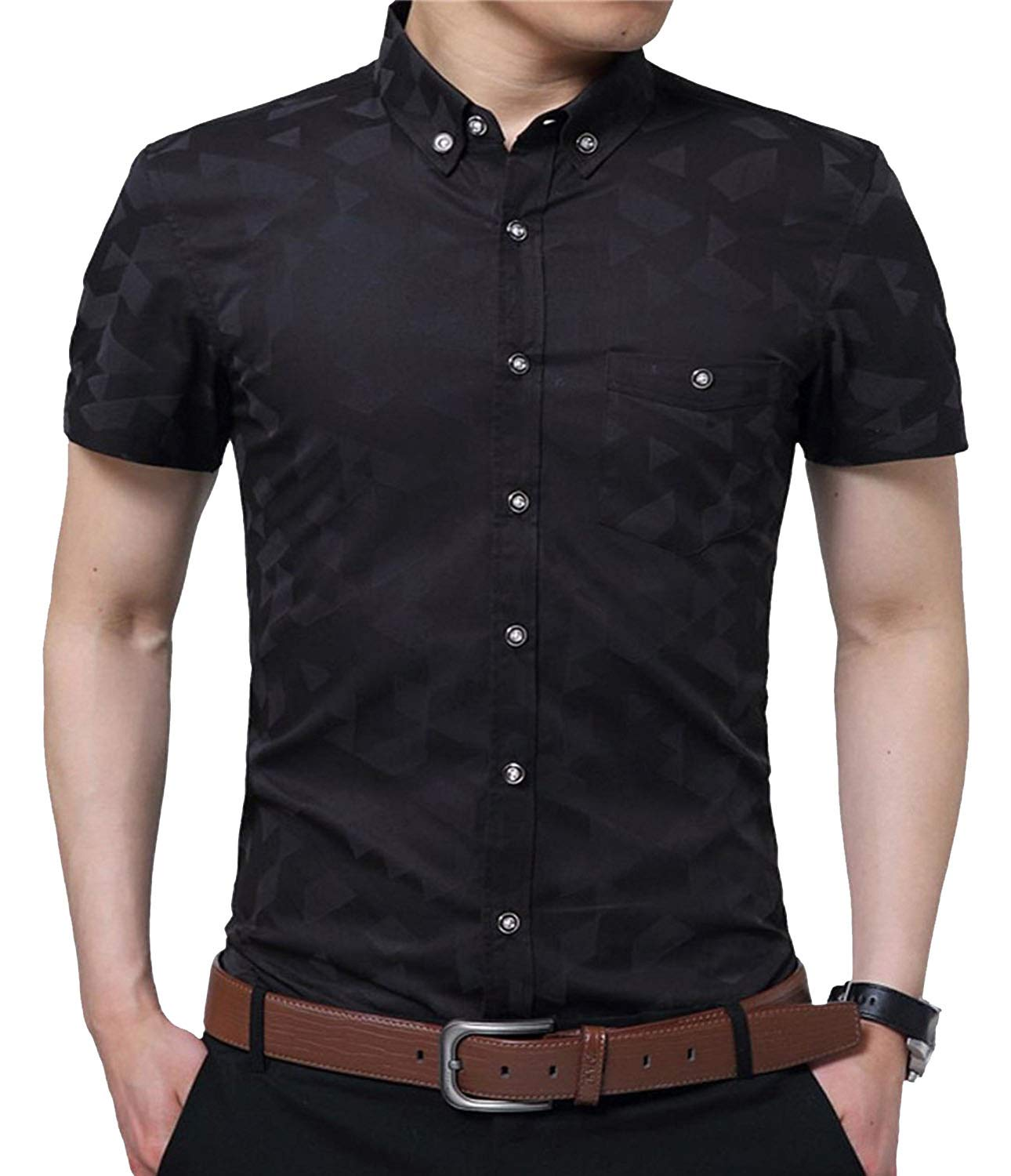 YTD Men's Business Casual Short Sleeves Dress Shirts (Large, Black) by YTD
