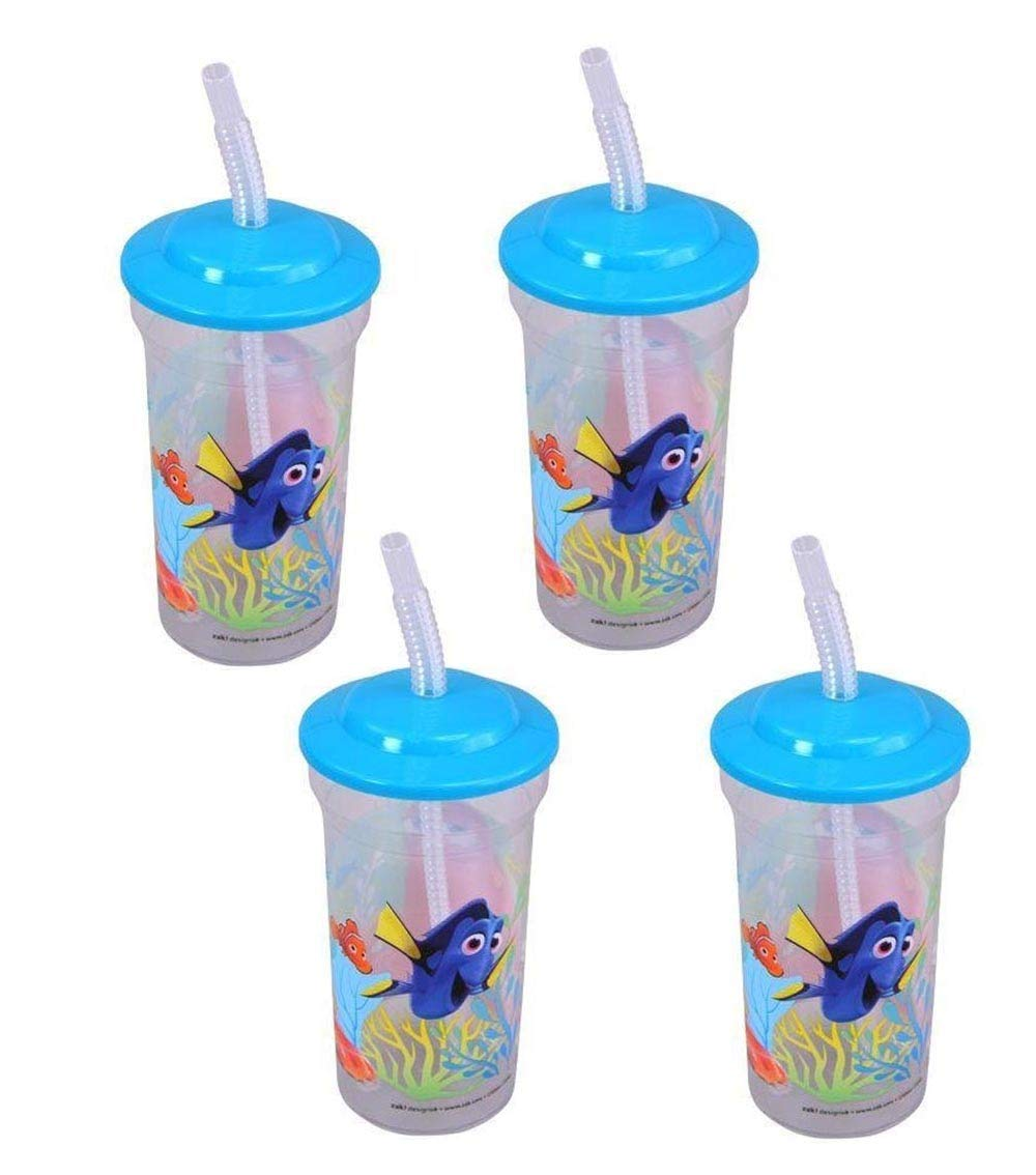 Disney [4-Pack Pixar Finding Dory Nemo 16oz Sports Tumbler Cups with Lids & Straws