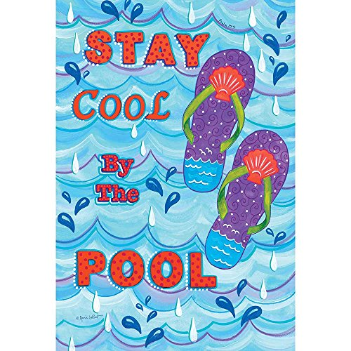Cool House Flag - Stay Cool By The Pool Flip Flops Waves Of Blue 30 x 44 Large House Flag