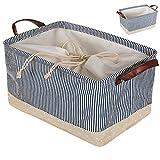 enjoygous cubitos de 1unidades gamuza DE cajas de almacenamiento cestas contenedores colcha organizadores cajones con dos asas para hogar, clóset, recámara, Flodable para guardar juguetes, Azul, 2 Packs