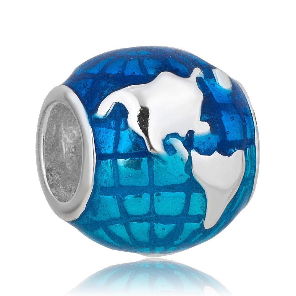 Sterling Silver New Ocean Blue Earth World Globe Charm Jewelry Beads Fit Pandora Bracelets by LovelyJewelry