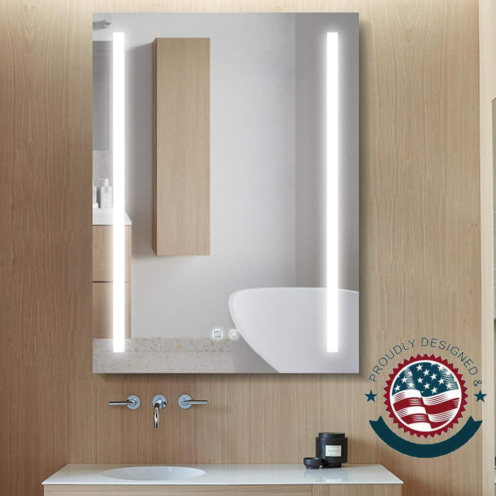 ExBrite LED Lighted Bathroom Mirror Wall Mounted with Anti Fog, Night Light, Dimmable, Touch Button, Super Slim,90+ CRI (24 x 32 inch)