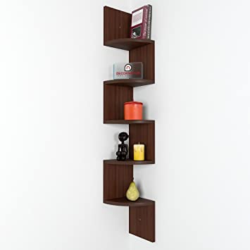 home corner furniture. decornation zigzag corner wall mount shelf unit walnut finish brown home furniture