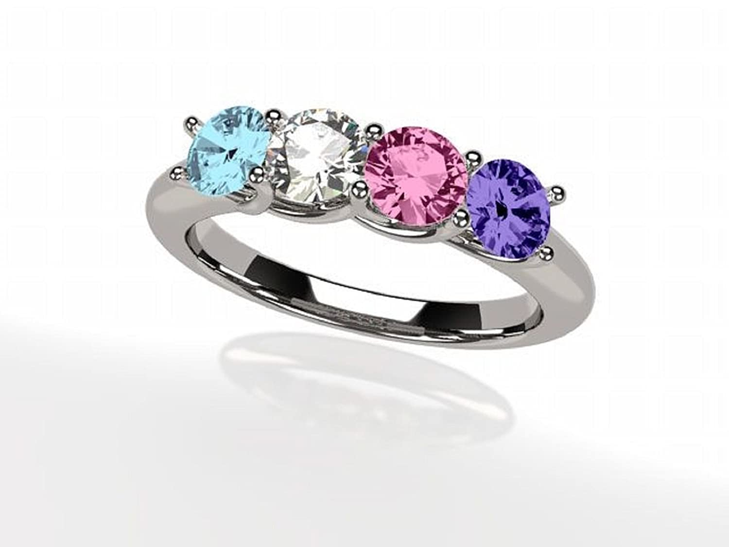 NANA Lucita Mothers Ring 1 to 6 Simulated Birthstones in Sterling Silver or 10k White Yellow & Rose Gold