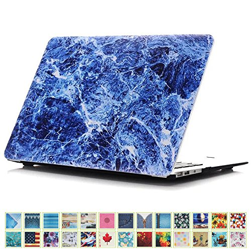 DHZ New MacBook Pro 13 Case (2016 Release Model:A1706/A1708 Only),Hard Case Shell Cover and Gift Keyboard Skin for Macbook Pro Retina 13 Inch with/without Touch Bar - Marble Pattern Blue
