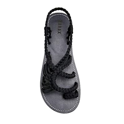 EAST LANDER Flat Sandals for Women Braided Strap Beach Shoes | Shoes