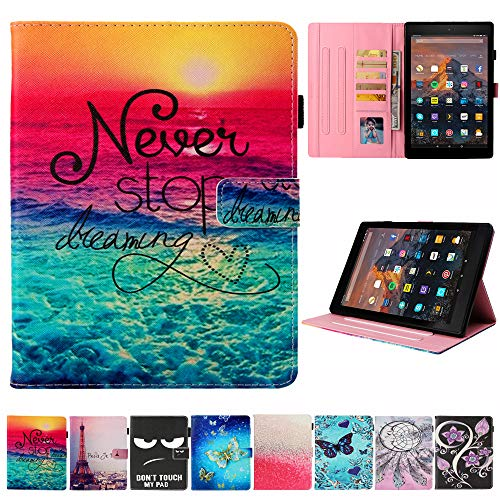 Kindle Fire HD 10 Case - JZCreater Folio PU Leather Smart Case Cover with Auto Wake/Sleep for All-New Kindle Fire HD 10.1 Tablet (7th Generation, 2017 Release), Dream