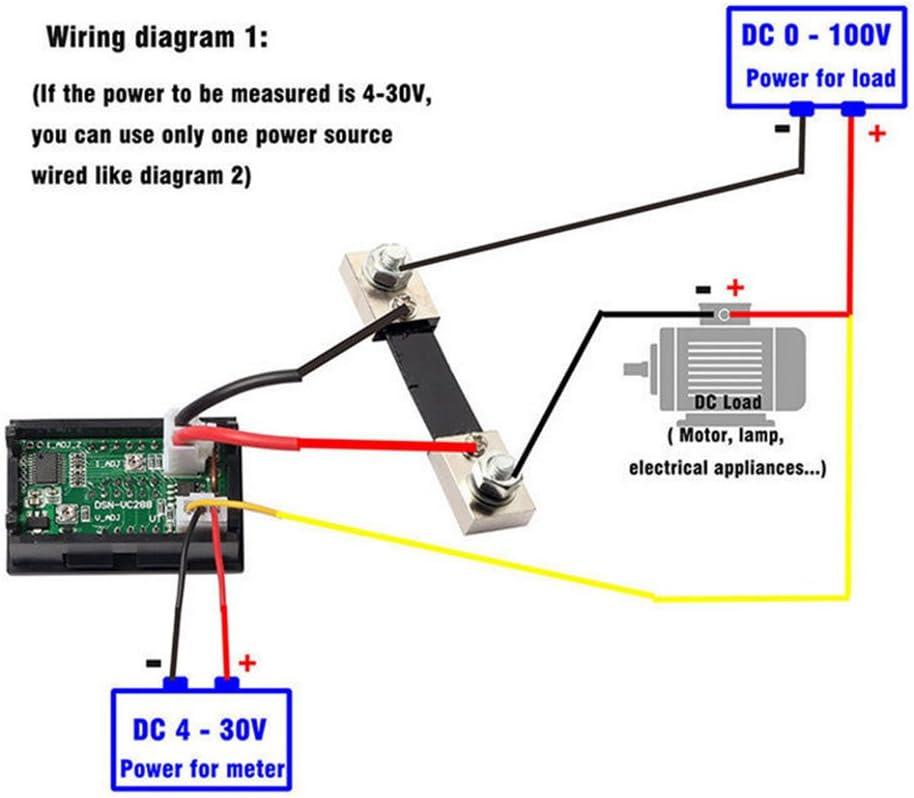 Amazon.com: DC 100V 10A 50A 100A Voltmeter Ammeter LED Dual Digital Volt Amp  Meter Gauge (100A Voltmeter & Ammeter w/ 100A Current Shunt): Home  ImprovementAmazon.com