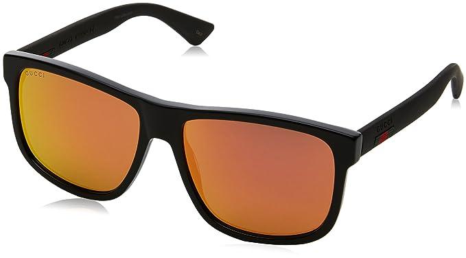 Gucci Herren Sonnenbrille GG0010S 002, Schwarz (Black/Red), 58