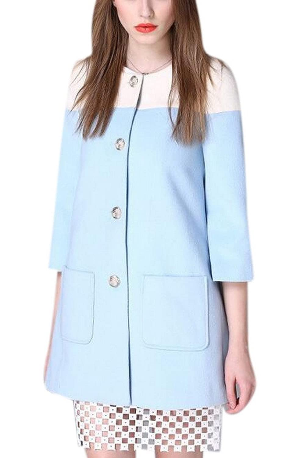 Women's 3/4 Sleeve Slim Single Breasted Winter Wool Blended Pocket Coat