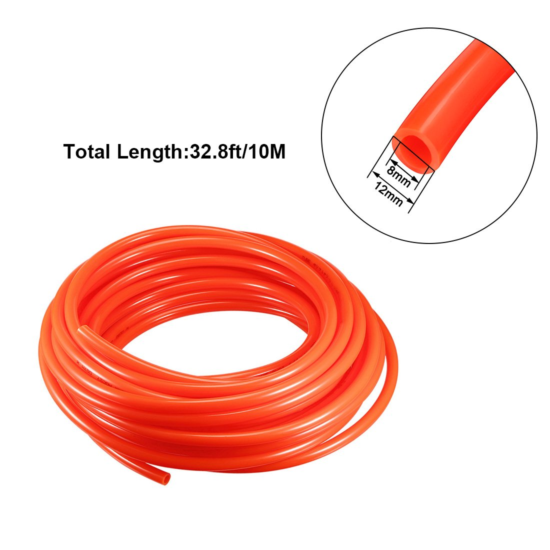 SOURCING MAP sourcing map 12mm X 8mm Pneumatic Air PU Hose Pipe Tube 10 Meter 32.8ft Black