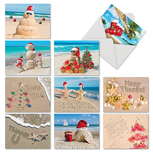 M6651XTB Season'S Beachin': 10 Assorted Blank Christmas Thank You Note Cards Featuring Various Holdiday Greetings from Sunny Beaches Around the World, w/White Envelopes.