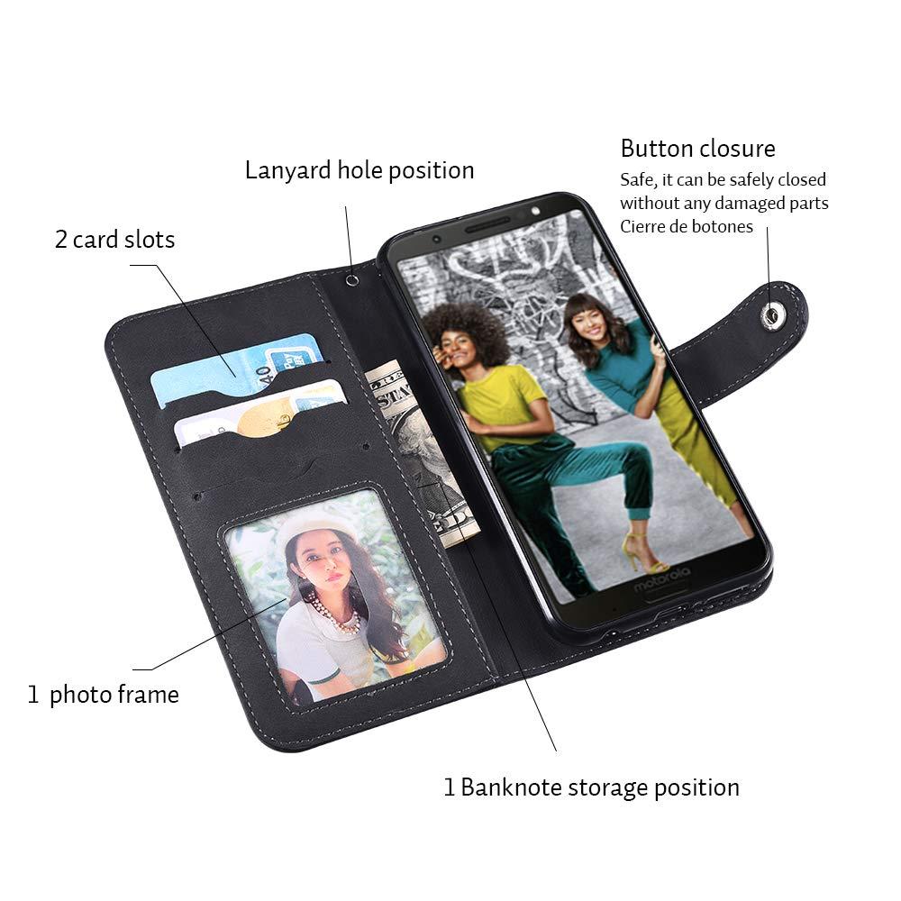 Moto G6 Plus Case,Moto G6 Plus Wallect Case, Flip Leather Case 5 Cards / 1 Photo Slot/Cash Pocket PU Cover with Wrist Strap [Wallet Stand] Phone Case for Moto G6 Plus (Black) by okasis (Image #4)