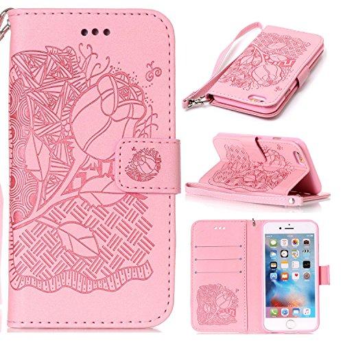 EKINHUI Case Cover New Style gepresst Embossing Blumen Windchime Muster Retro Folio Flip-Stand Geldbörse mit Handschlaufe für Apple IPhone 6S Plus ( Color : 4 )