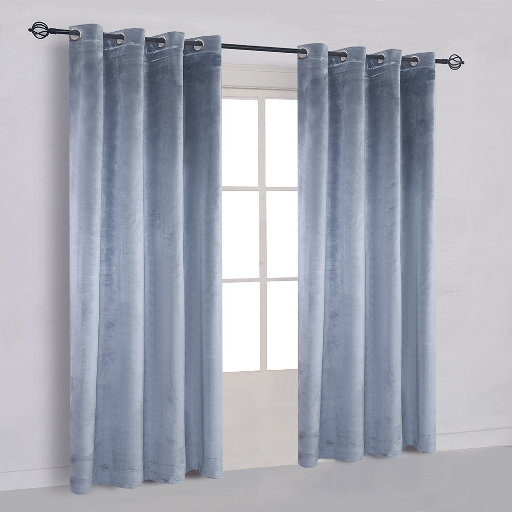 Super Soft Luxury Velvet Stone Blue Set of 2 Blackout Drapes Room Darkening Curtains Panel Grommet Drapery Dusty Blue