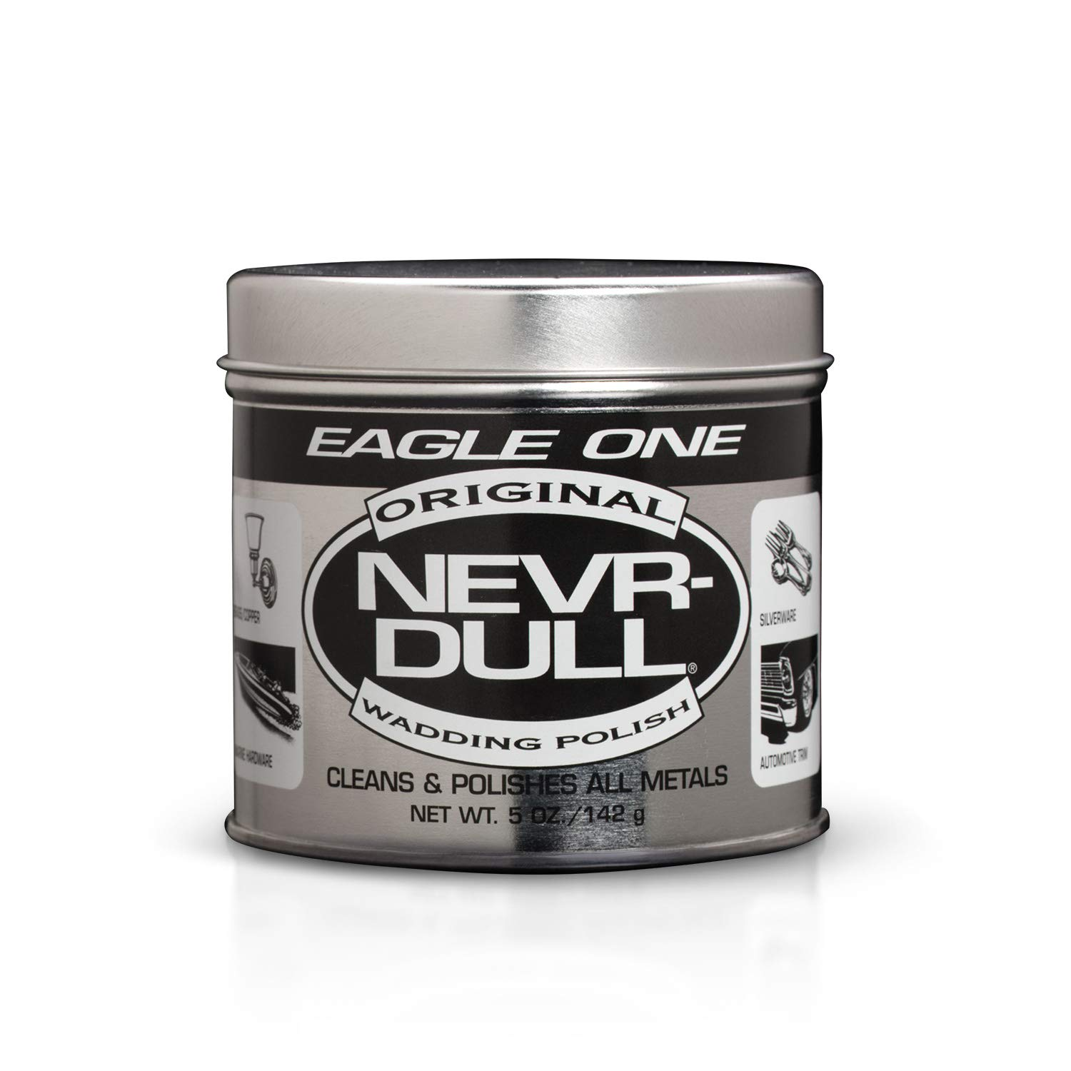 Eagle One Nevr-Dull Wadding Metal Polish, Chrome Restoration, For Wheels and More, 5 Ounce Jar