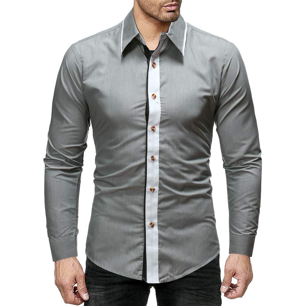 LuckyGirls Camisas Formales de Hombre Manga Larga Negocio Color de Mezcla Camisetas Casual Entallada Remeras