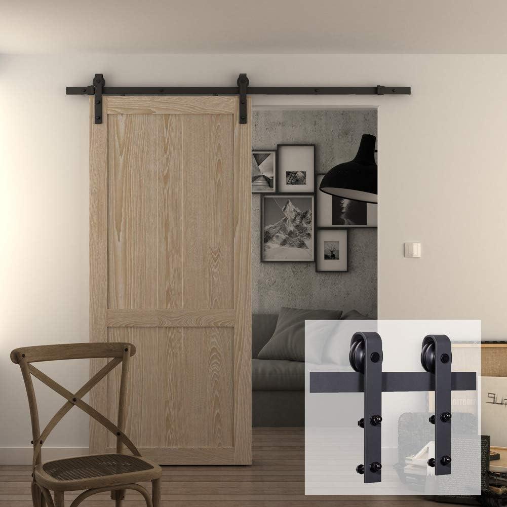 jubest 6.6 ft Puerta Corrediza de granero madera Básica deslizante pista hardware Kit (