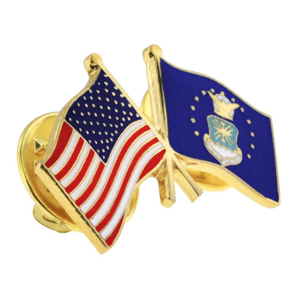 Air Force Crossed Friendship Flag Enamel Lapel Pin PinMart USA and U.S