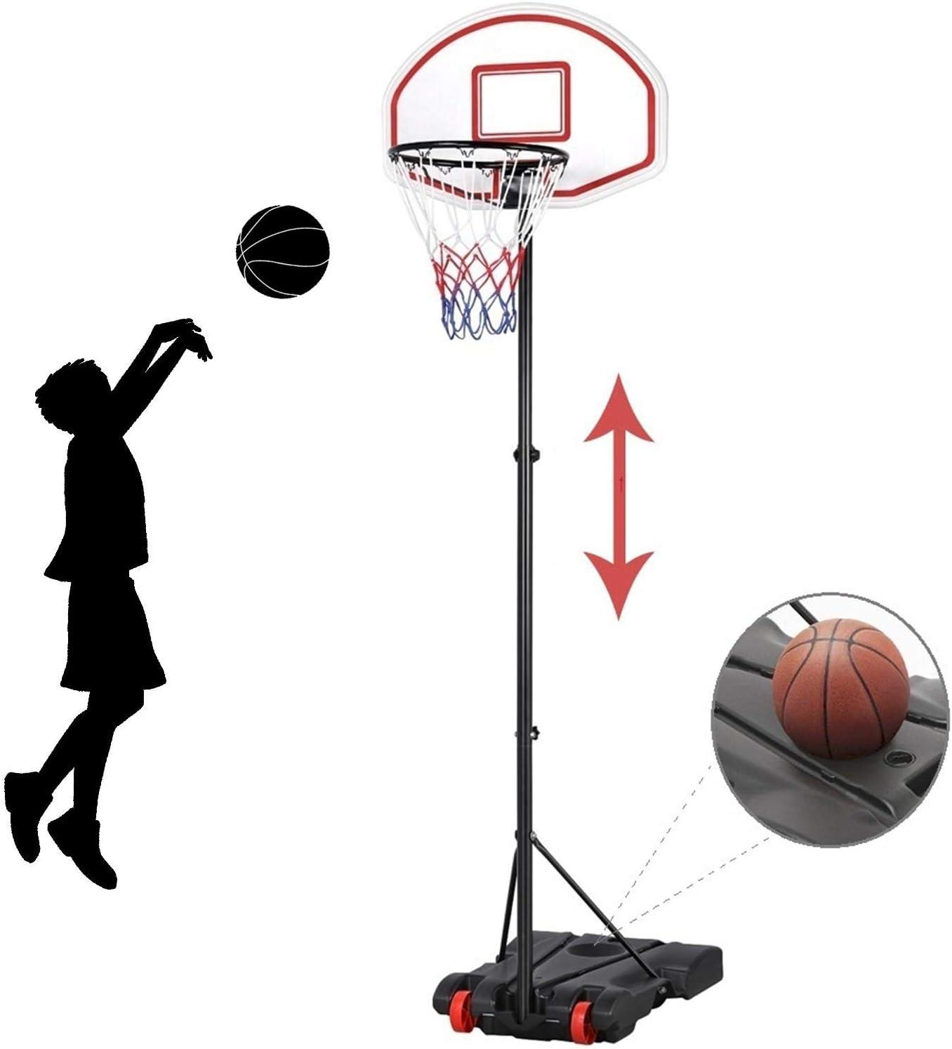 Basketball Stand Net Hoop Backboard Adjustable Height 2 Wheels Portable Garden