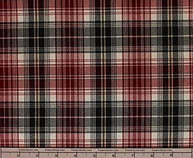 Suiting Fabric-RED//BLACK Clark Poly Rayon Plaid Stretch Suiting Fabric Stretch Suiting Fabric