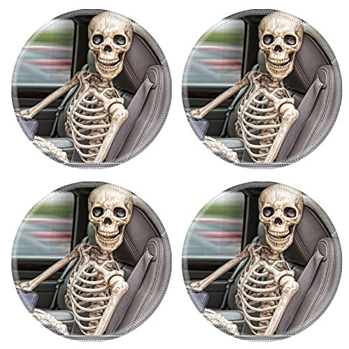 Liili Natural Rubber Round Coasters IMAGE ID: 23213200 A skeleton behind the wheel of an SUV distracted by his cell phone He is also not wearing a seatbelt
