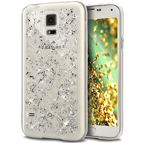 Price comparison product image Galaxy S5 Neo Case,Galaxy S5 Case,ikasus Ultra Thin Clear Crystal Bling Shiny Giltter Rhinestone Clear Rubber Transparent TPU Soft Silicone Bumper Case Cover for Samsung Galaxy S5 / S5 Neo,Silver