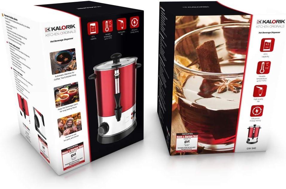 regelbares Thermostat Rot Kalorik TKG GW 940 Hei/ßgetr/änke- und Gl/ühweinautomat 4 liters /Überhitzungsschutz 950
