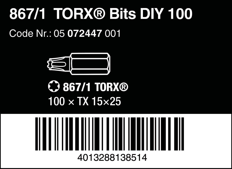 Wera 05072448001 Torx DIY Embout 867//1-100 pcs TX20x25mm Gris 20 x 25