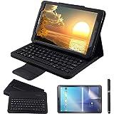 REAL-EAGLE Galaxy Tab A 10.1 Teclado Funda(QWERTY), Funda de Cuero con Desmontable Inalámbrico Bluetooth Teclado para Samsung Galaxy Tab A6 10.1 2016 SM-T580/T585/T580N/T585N Tablet, Black