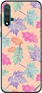 For Huawei Nova 5 Case Green Blue Pink & Orange Leaves Pattern