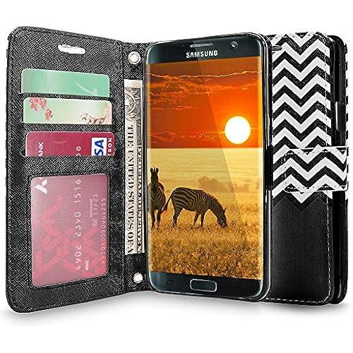 S7 Edge Case, Galaxy S7 Edge Case, Cellularvilla [Zig Zag Pattern] Chevron Design Premium Pu Leather Wallet Case Sales